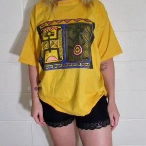 Tops - Vintage Yellow Print T-Shirt